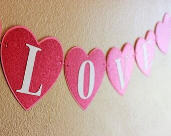 Valentines Day Heart Banner - XOXO, Love, Be Mine - Happy Valentines Day