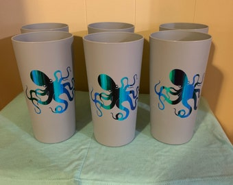 8526067a1ce Set of six, tumblers, cups, octopus