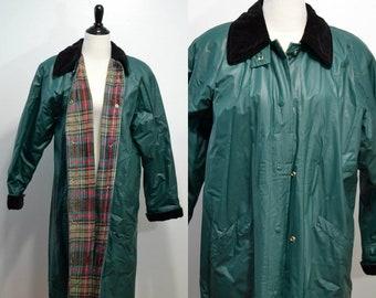 c2011d48594a8 Misty Harbor   Rain Trench Coat   Vintage 90s BLue Green Raincoat Trench  1990s Flannel Lined PVC Large L Rain Slicker
