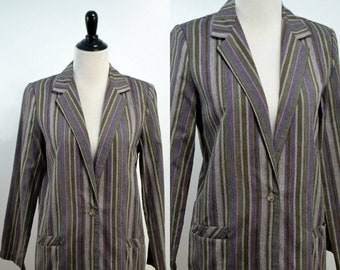 Medium | Large | Purple Stripe | Vintage 1980s 80s Oversized Lightweight Women's Blazer Jacket Gray Brown