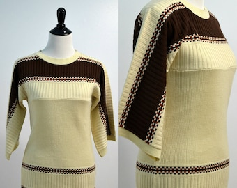 Vintage 70s Bell Sleeve Sweater / Wide Sleeves Hippie Top / Boho Bohemian Fall Sweater / Earthy Oversized Top / Medium Small S M