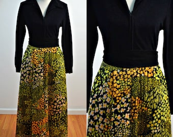 Vintage vtg 1970s 70s Evelyn Pearson Lounging Apparel Robe Maxi Dress Quilted Skirt Long Sleeve Front Zipper Medium M