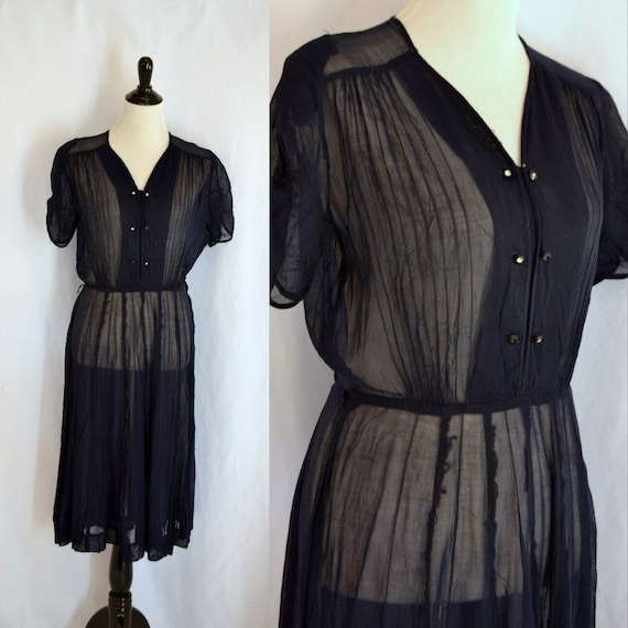 Vintage Sheer 1940s Side Zipper Dress