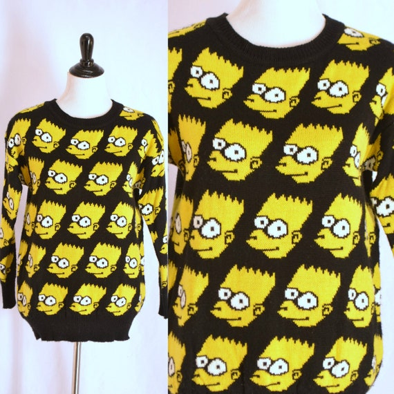 Bart Simpson Face Sweater Novelty Print Pullover