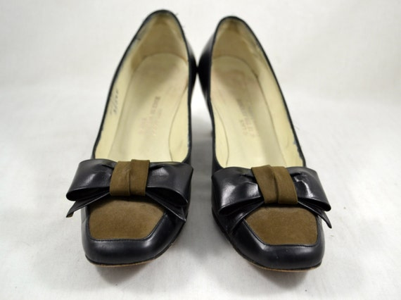 Avenue 60s vtg Vintage Black Brown Saks Fifth with 7 Black Bows Heels 1960s Pumps Shoes Size High Accessories Women's and tSApq