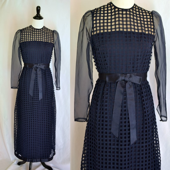 Vintage Navy Basket Weave Sheer Top Maxi Dress She