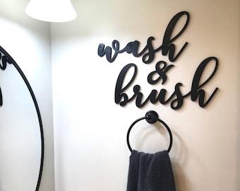 Wash and Brush Wood Word Cutout, Laser  Cut Words, Bathroom Decor