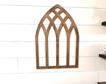 Brown Arched Cathedral Window Frame, Wood Window Frame Wreath Hanger