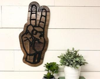 Peace sign hand gesture, 3d Wooden hand cutout, bohemian home decor, boho decor