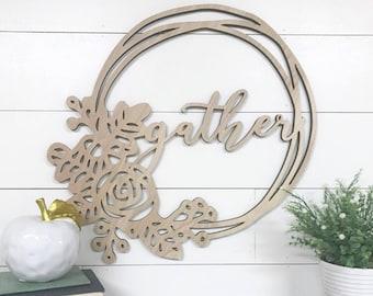 Gather Wood Cutout Door Hanger Wreath Made of Wood