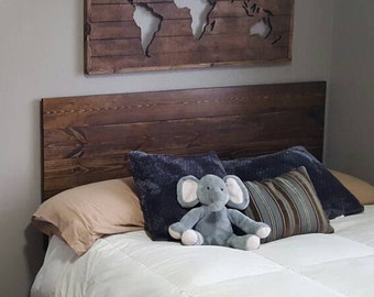Queen, twin size, king, full planked wood headboard, rustic headboard, custom headboard, bed headboard, Wall hanging headboard kit