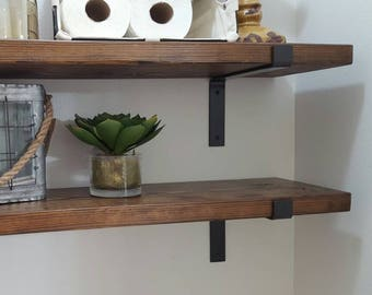 Two Industrial Modern Wood And Metal Shelves Shelf Brackets With Plank Farmhouse Style SET OF TWO