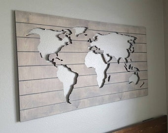 Wood World Map Cut Out.Wood Map Etsy