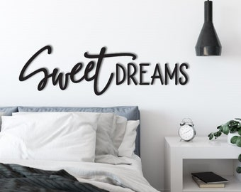 Sweet Dreams Wood Word Cutout Wooden Letters Laser Cut Gallery Wall Decor Black Home