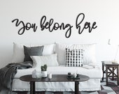 You Belong Here Wood Word Cutout, Wooden letters, Laser Cut Word, Gallery Wall Decor, Black Home Decor