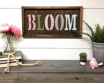 Bloom Wood Farmhouse Sign, Laser Cut Sign 3d Framed Sign, Spring Decor