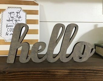 Mini Hello Wood Word Laser Cutout, Scroll Cut Word, Hello Sign