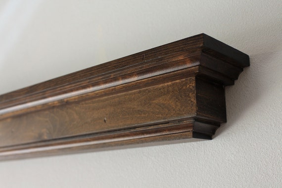 Wood Wall Shelf Dark Stained Floating Display Shelf Or Etsy