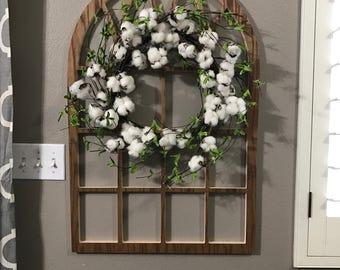 Brown Cathedral Window Frame, Wood Window Frame Wreath Hanger