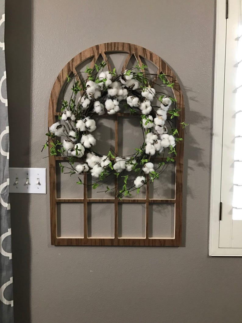 Brown Cathedral Window Frame Wood Window Frame Wreath Hanger