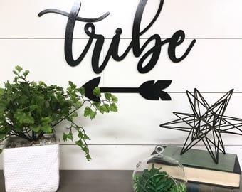 Tribe Wood Word Cutout, Laser  Cut Words, Boho Home Decor, Farmhouse Signs