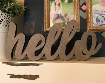 New* Mini Hello Wood Word Laser Cutout, Scroll Cut Word, Hello Sign