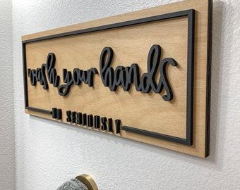Bathroom Sign, Wash Your Hands Bathroom Decor, Funny Bathroom Sign, Seriously Wash Your Hands Sign