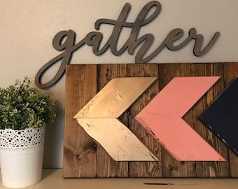 Large Gather Wood Word Cutout, Laser Cut Word, Gather Sign Wall Decor, Scroll Cut Word