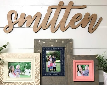Smitten Wood Word Cutout, Scroll Cut Word, Custom Cursive Word Wall Hanging, Family Room Decor, Gallery Wall Decor, baby's room decor