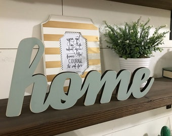 Home Wood Word Cutout, Laser Cut Word, Custom Cursive Word Wall Hanging, Family Room Decor, Gallery Wall Decor