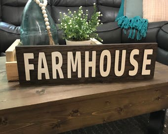 Farmhouse Wooden 3d Sign, Laser Cut Wood Letter Sign, Farmhouse Style Wooden Wall Decor, Brown and White Sign