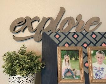 Explore Wood Word Cutout, Laser Cut Word, Travel Themed Sign Wall Decor, Scroll Cut Word