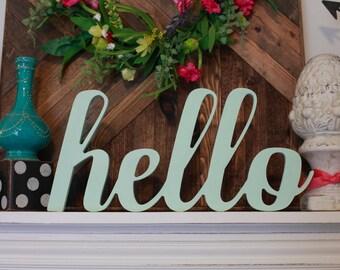 Hello Wood MDF Word Cutout, Scroll Cut Word, Hello Sign