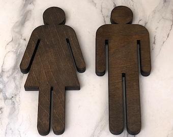 Set of 2 Bathroom Sign People Wood Cutouts 7 Color Options! Laser Cut Restroom Men & Women Bathroom Decor, Boys, Girls Bath Sign