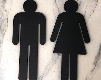 Bathroom People Wood Cutouts 7 Color Options! Laser Cut Restroom Men & Women Bathroom Decor, Boys, Girls Bath Sign