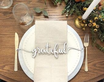 Plate Setting Grateful Wood Word Cutout Wreath Decor, Grateful Sign, White Grateful Laser Cutout