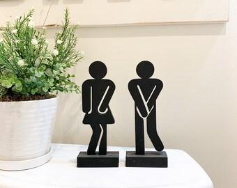Set of 2 Standing Bathroom Sign People Wood Cutouts 3 Color Options! Laser Cut Restroom Men & Women Bathroom Decor, Boys, Girls Bath Sign