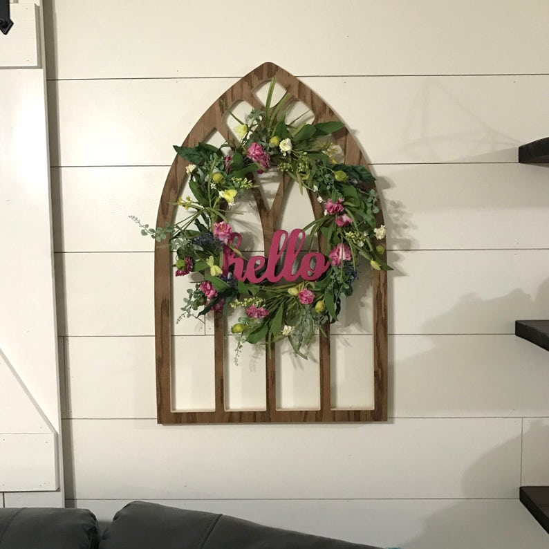 Brown Arched Cathedral Window Frame Wood Window Frame Wreath Hanger