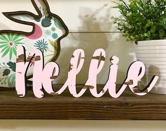 Mini Name Wood Word Cutout, Scroll Cut Name, Custom Cursive Name Wall Hanging, Baby Room Decor, Monogram Name Sign