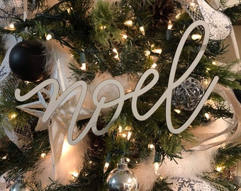 Noel White Christmas Tree Ornament Word, Hand Lettered Laser Cut Christmas Ornaments
