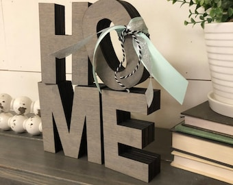 Extra Thick HOME Letters Wooden Cutout, Laser Cut Wood Letter, Chunky Home Sign Wooden Wall Decor, Wood Letter Cutout