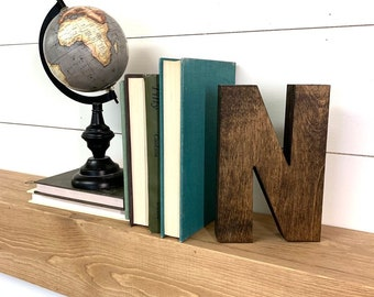 """Thick Wooden Letter Cutout, 9""""- 14"""" Tall Wood Letter, Large Stained Wooden Letter Decor, Standing Wood Letters"""