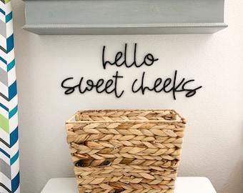 Funny Bathroom Sign, Hello Sweet Cheeks Wood Cutouts, Laser Cut Restroom Bathroom Decor, Bath Sign