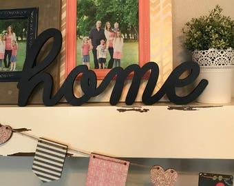 Home Wood Word Cutout, Laser Cut Word, Home Sign Wall Decor, Scroll Cut Word, Cursive Script Wooden Word