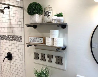 Two Industrial Modern Wood and Metal Shelves, Pipe Shelves, Metal Shelf Brackets with Wood Plank Shelves, Farmhouse Style Shelves