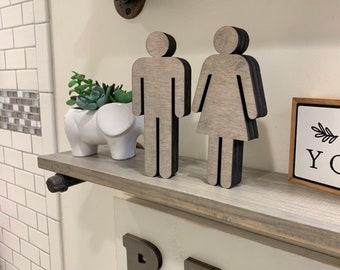 Set of 2 Standing Bathroom Sign People Wood Cutouts 7 Color Options! Laser Cut Restroom Men & Women Bathroom Decor, Boys, Girls Bath Sign