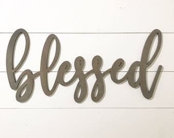 Blessed Wood Word Cutout, Scroll Cut Word, Custom Cursive Word Wall Hanging, Family Room Decor, Gallery Wall Decor