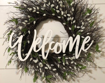 Large Welcome Wood Word Cutout, Laser Cut Word, Front Door Decor, Wood Word Wreath Decor, Farmhouse Welcome Sign