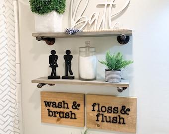 Bathroom Sign Set of 2, Wash Brush Floss Flush Sign, Bathroom Decor, Modern Farmhouse Decor, Bohemian Bathroom Decor, Boho Decor