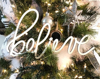 Believe Christmas Tree Ornament Word, Hand Lettered White Laser Cut Christmas Ornaments